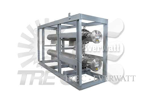 Thermoregulation skid and complete fan heaters for immersion